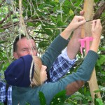 Ben from Auckland Zoo and Liz, MRS Committee, attaching a wetapunga house